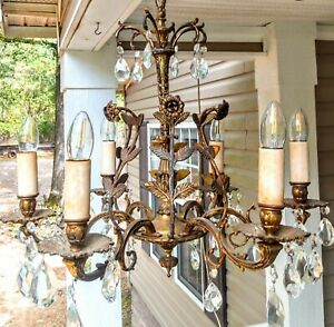 Antique French Brass Crystal Prisms Chandelier VTG Mid Century Hanging Light !
