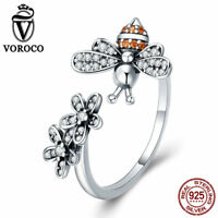 VOROCO 925 Sterling Silver Bee and Flower adjustable ring with AAA CZ and Enamel