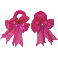 Pair of Small Pink Hair Bow Ribbon Scrunchies Elastics Bobbles Girls Accessories