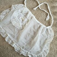 1950s Vintage Retro Sheer White Lace Half Apron Pocket with Bow