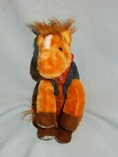 """Aurora Horse with Red Scarf Jean Vest 8"""" Plush"""