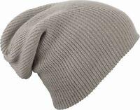 Strickmütze Herren Wintermütze Long Beanie Mütze Doppelt Gestrickt Rib-Muster