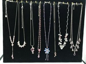 Costume Jewellery Bundle x8 Necklaces Pinks Purples Silver Tone inc Flowers Bead