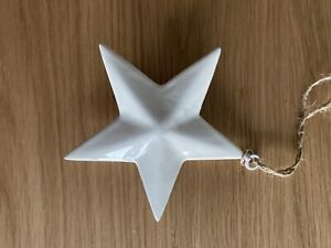 Simple White Ceramic Hanging Star - 10cm - Tree House Decoration