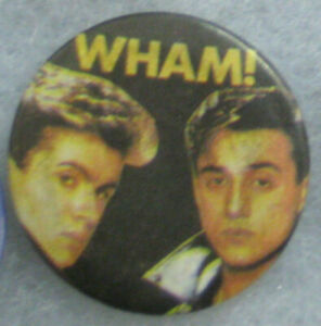 Wham /George Michael - RARE ORIG 80s Pin Badge Button for hat/jacket/shirt VTG 1