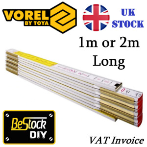 Wooden Folding Ruler Metric Stick 1m or 2m Brass Joints Carpenter Measuring DIY