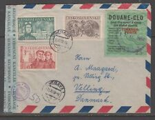 Czechoslovakia 1950. Cover to Denmark opened for control. Costum label.