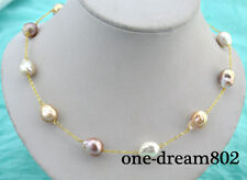 """Real 18"""" 13x16mm baroque white baby pink lavender reborn keshi pearl necklace"""