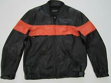 Mens L large Wilsons Leather black orange lined motorcycle jacket Harley colors