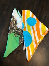 Lot 2 Vintage Burmel Scarf Handkerchief Silk Green Paisley Orange Mcm Italy