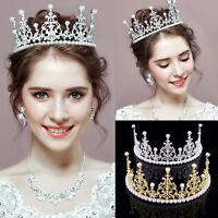 Noble Wedding Handmade Pearls Rhinestone Birthday Crown Bridal Tiaras Headband