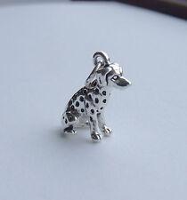 Dalmatiner sitzender Hund 3D 925 Charm Sterlingsilber