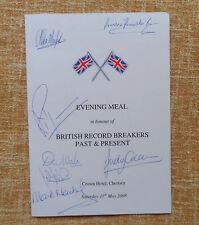 A British Record Breakers Past & Present signed dinner menu, Richard Noble, etc.