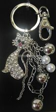 Sparkling Bling Cat Key Ring Keyring Silver Tone with Diamontes, Beads, Chain