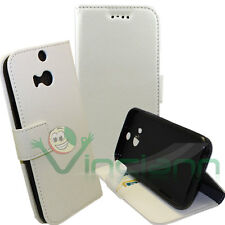Custodia BIANCA eco pelle per HTC One 2 M8 BOOKLET stand+tasche schede cover