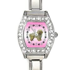 Bolognese Dog Cubic Zirconia Ladies Stainless Steel Italian Charm Watch BJ1120