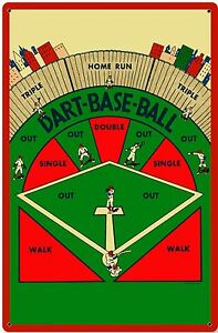 Baseball Dart Board Vintage Sign Bar Games Retro Heavy Duty Steel Metal USA Tin