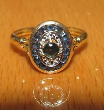 BEAUTIFUL SECONDHAND 9ctYELLOW GOLD BLUE SAPPHIRE  CLUSTER  RING SIZE O1/2