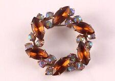 Vintage Juliana Round Amber Rhinestone Glass Brooch
