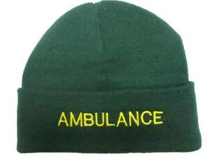 AMBULANCE Beanie / Woolly Hat (GREEN) for Paramedic St John Medic EMT 999 Nurse