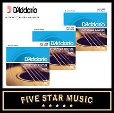 3 SETS DADDARIO EJ16 ACOUSTIC GUITAR STEEL STRINGS 12-53 NEW J16 D'ADDARIO