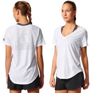 adidas Womens Image T-Shirt V-Neck Short Sleeve Gym Sports Tee New White Top