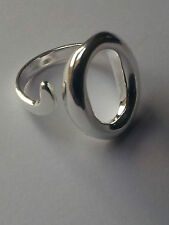 Finger Ring Large O - Unisex 925 Sterling Silver Plated Adjustable Thumb