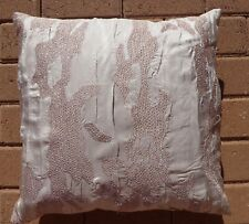 "DONNA KARAN FEATHER PILLOW + SILK EMBROIDERED DECORATIVE SHAM,18""X18"", BEIGE,NEW"