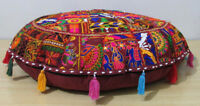 "32"" Indian Floor Cushion Round Cover Patchwork Pillow Pouf Meditation Boho Decor"