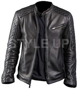 Men's Diamond Cafe Racer Motorcycle Biker Vintage Style Black Leather Jacket