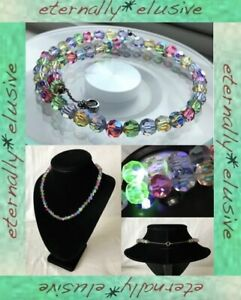 Harlequin Aurora Borealis AB Faceted Czech Glass Bead Vintage Necklace w Uranium