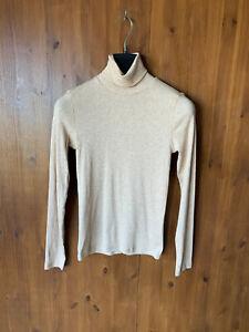 RRP £38 EVERLANE T-SHIRT TOP Beige Rib Long Sleeve Cotton Pima Polo Neck S / 6-8