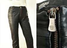 VERSACE vintage black leather low cut skinny trousers Small
