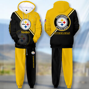 2PC Pittsburgh Steeler Tracksuit Mens Set Sweatpants Hoodie Sweatsuit Sportswear