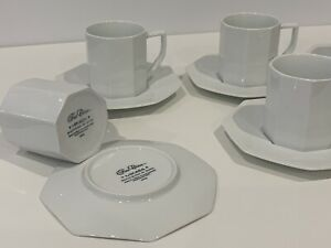 MIKASA M2600 BLANC DE BLANC OCTAGON WHITE CUP & SAUCER SET 6PCE MADE IN JAPAN