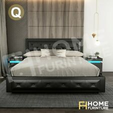 Queen Solid Wood Bed Frame PU Leather Gas Lift Storage Bedroom Furniture Black