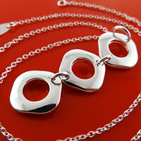 NECKLACE CHAIN GENUINE REAL 925 STERLING SILVER S/F LONG DROP PENDANT DESIGN