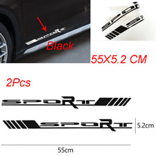 2x Black Sport Style Side Door Car SUV Racing Reflective Vinyl Stickers 55X5.2CM