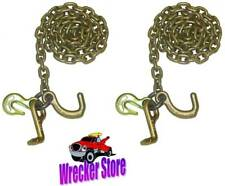 """5/16"""" X 8' G70 CHAIN with CLUSTER HOOK, TRANSPORT, WRECKER, TOW TRUCK - 1 Pair"""