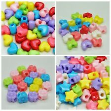 50 × Pony Beads Mixed Colours Choose From Star Heart Flower Butterfly Shape