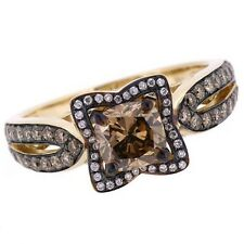 1.67ct VS2 Cushion Cognac Chocolate-Brown Diamond Halo Engagement Ring 14k Gold