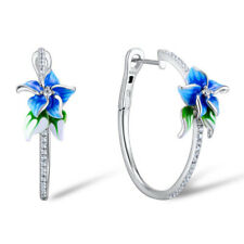 Elegant 925 Silver Hoop Earring Women White Sapphire Jewelry A Pair/set