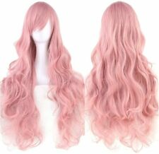 """Cosplay Wig Dusky Pink Approx 30"""" Wavy Party Costume Hair"""