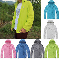 Men Womens Unisex Waterproof Windproof Jacket Hiking Bicycle Jogging Rain Coats