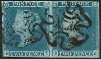 1841 SG14 2d BLUE PLATE 3 FINE USE 4 MARGIN MALTESE CROSS PAIR (BI/BJ)