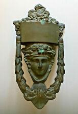 Antq Early 20thC Dionysus Bacchus God of Wine Figural Solid Brass Door Knocker