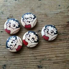 WOODEN BETTY BOOP 2 HOLED BUTTONS