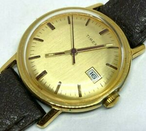 Vintage '76 Timex Mercury Mens Gold Tone Hand-Wind Mechanical Watch Hours~Date