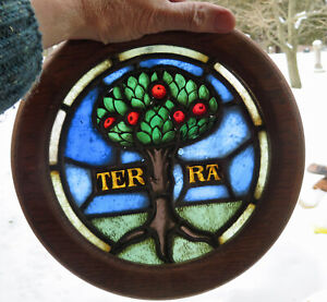Antique Stained Glass,Hand Painted,Kiln Fired TERRA Fruit Tree Leaded Window