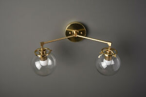 Wall Sconce - Brushed Brass - Mid Century - Modern - Industrial -Clear Globes